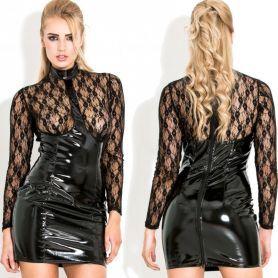Zwart lak jurkje met transparante kant