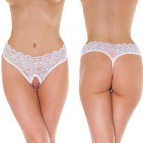 Witte hi-waist string ouvert