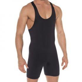 Zwarte elastische heren body