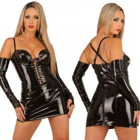 Glanzend zwart lak jurkje
