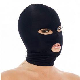 Zwart spandex masker met openingen