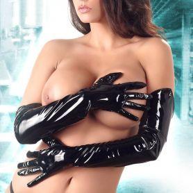Lange zwarte lak handschoenen