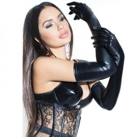 Wetlook opera gloves