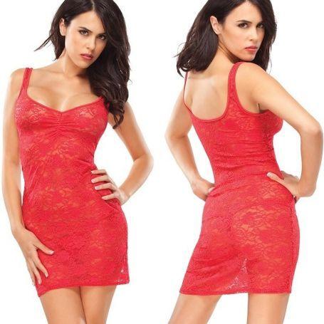 Rood transparant mini jurkje