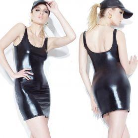 Zwart elastisch wetlook jurkje