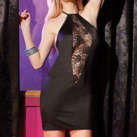 Zwart jurkje met transparante kant
