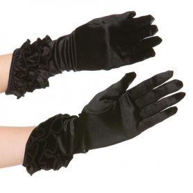 Zwart over de pols vallende handschoentjes